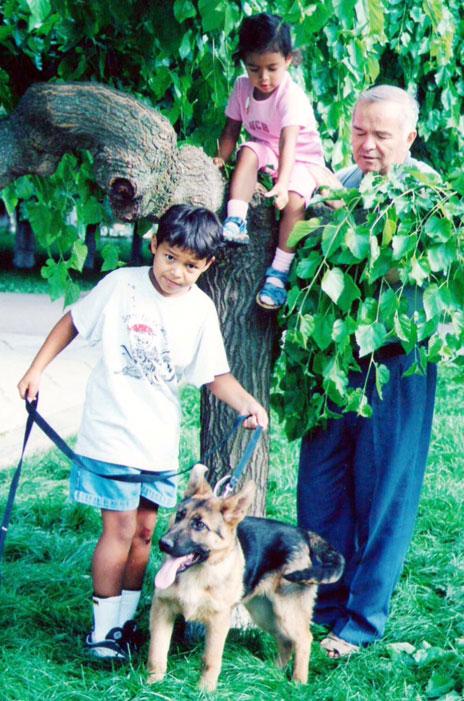 Islam Karimov Jr, his sister Iman, and Islam Karimov Sr - with Barik the dog