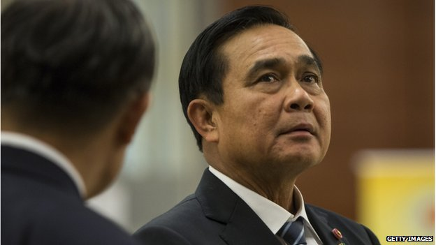 Thailand Prime Minister Prayuth Chan-Ocha waits for the China Summit to begin on the second day of the ASEAN summit on 13 November 2014 in Naypyidaw, Burma.