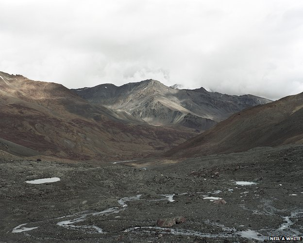 Looking down the valley where water from the Spong Togpa glacial lake flows