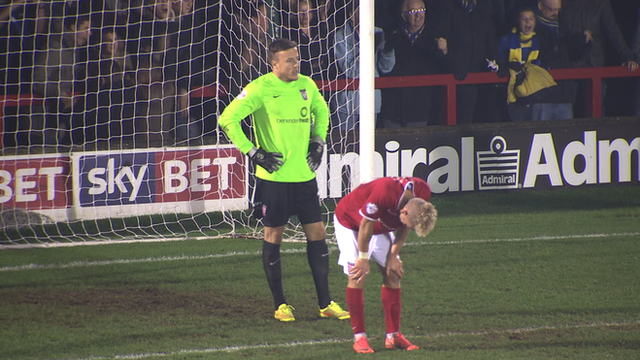 Michael Ingham was caught out in the FA Cup first round tie at Wimbledon.