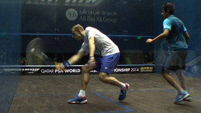 Britain's Nick Matthew against India's Saurav Ghosal at the Squash World Championships