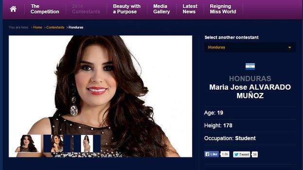 Maris Jose Alvarado's Miss World page