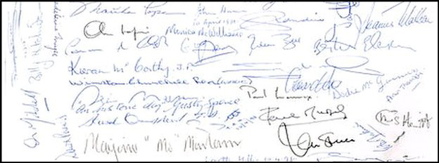 Signatures on the Belfast Agreement