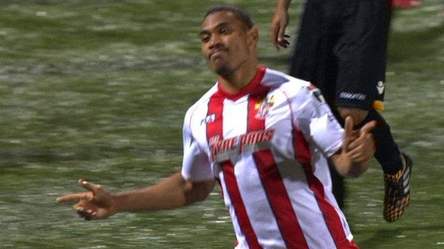 Goalscorer Darius Charles celebrates Stevenage's equaliser
