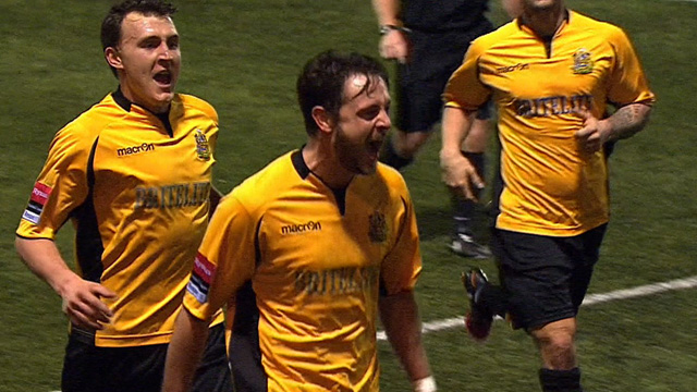 Frannie Collin celebrates his winning goal for Maidstone United