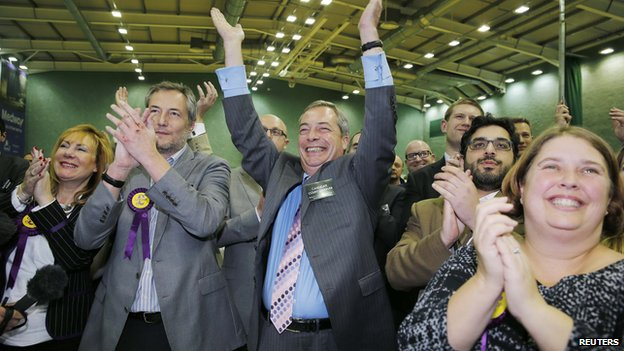 Nigel Farage celebrates Mark Reckless's Rochester victory