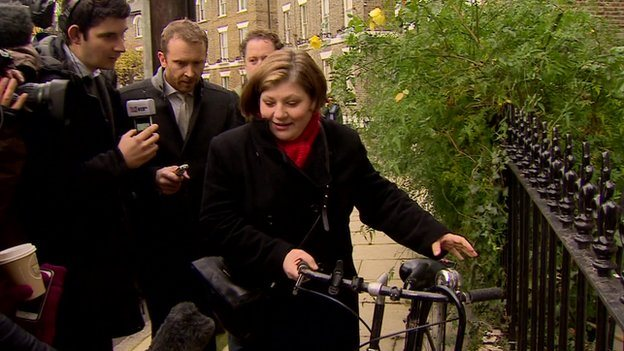 Emily Thornberry outside her home being mobbed by reporters