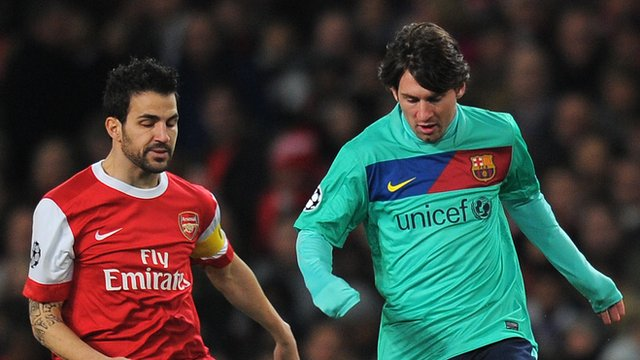 Arsenal's Cesc Fabregas and Barcelona's Lionel Messi