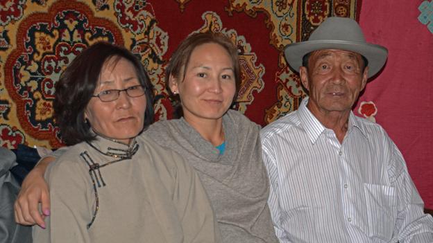 Uuganaa with her parents