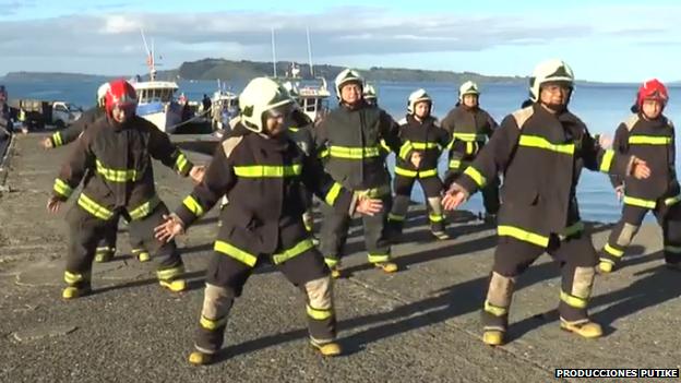 Dancing firemen in Chile
