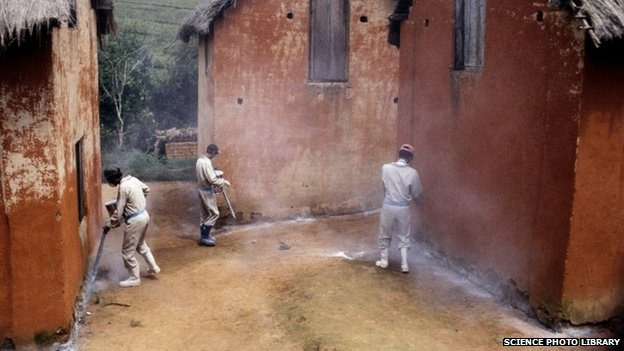 Men spraying insecticide in Madagascar