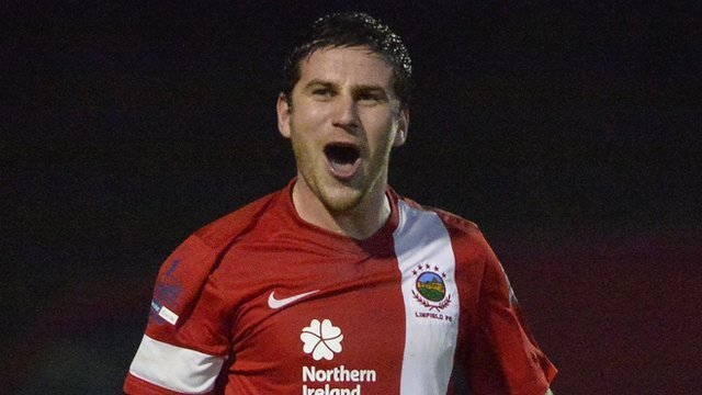 Mark Haughey celebrates his late winner for Linfield