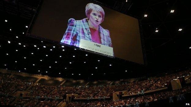 First Minister of Scotland Nicola Sturgeon speaks at the Nicola Sturgeon rally at the SSE Hydro in Glasgow