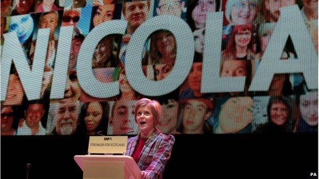 First Minister of Scotland Nicola Sturgeon speaks at the Nicola Sturgeon rally