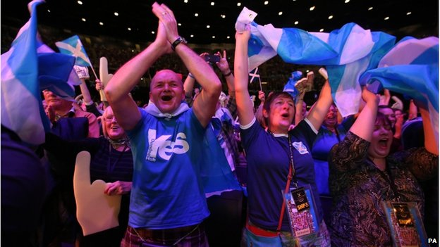 SNP members at the Nicola Sturgeon rally at the SSE Hydro in Glasgow