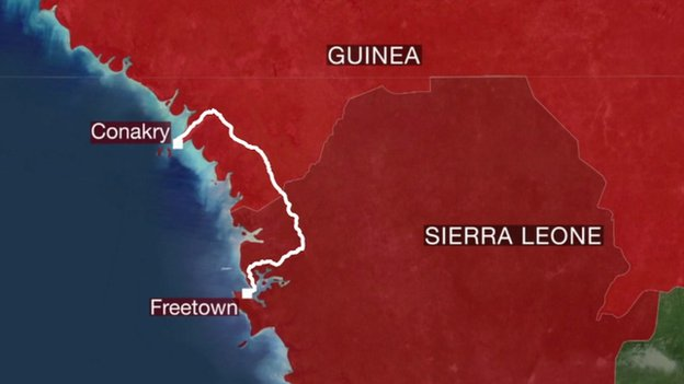 The route the BBC team took from Freetown to Conakry