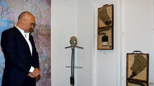 Prime Minister Rama examines military equipment in one of the bunker's room - 22 November 2014