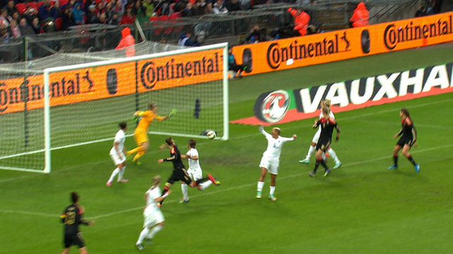 Simone Laudehr scores for Germany's women at Wembley