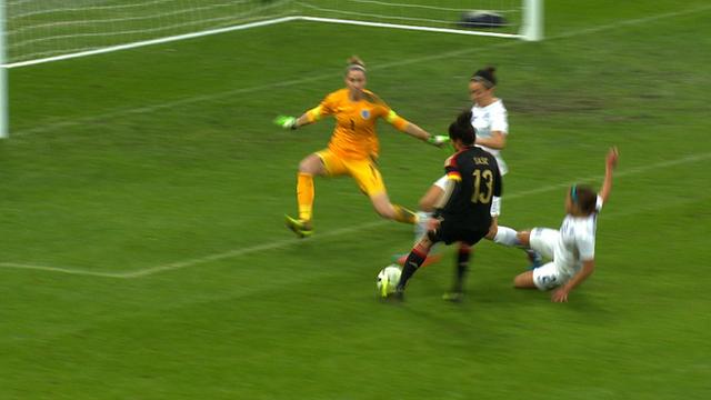 Celia Sasic puts Germany 2-0 up against England at Wembley