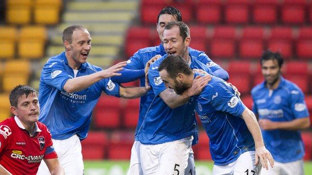 St Johnstone players celebrate James McFadden's goal