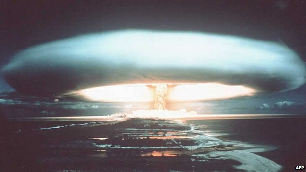A French nuclear test at Mururoa Atoll in 1971