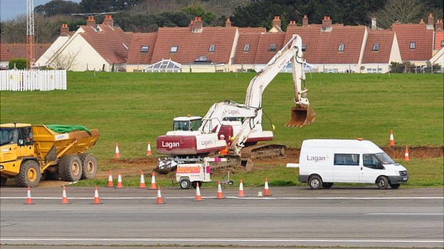 Contaminated soil being removed from Guernsey Airport airfield