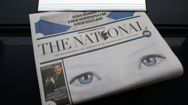 """The National newspaper in a letter box in Scotland, after it was launched to """"fly a vibrant flag for independence"""""""