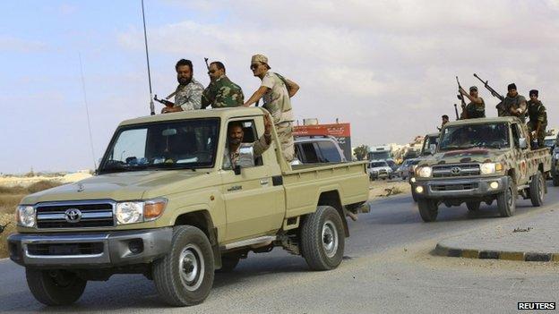 Forces loyal to former general Khalifa Haftar in Benghazi