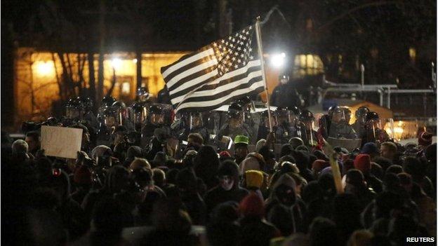 Protesters in Ferguson, 24 November 2014