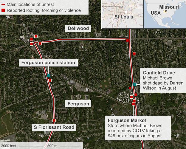 Map of Ferguson, showing where Michael Brown was shot dead - 25 November 2014