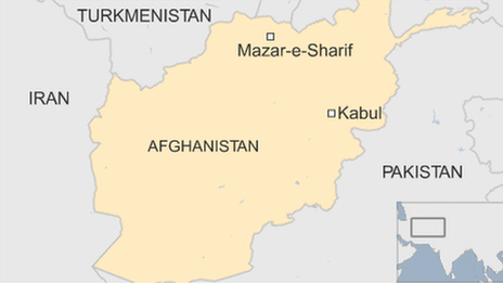 Map showing location of Mazar-e-Sharif