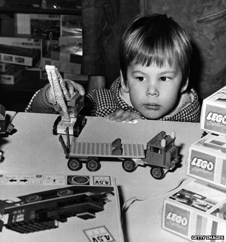 Boy playing with Lego at Bentalls store in Kingston, Surrey in 1969