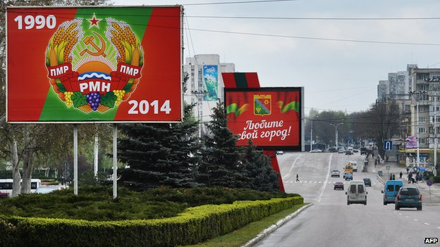 Street scene in Tiraspol, seat of government of the self-proclaimed republic of Trans-Dniester.