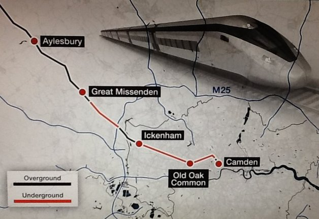 Map of HS2