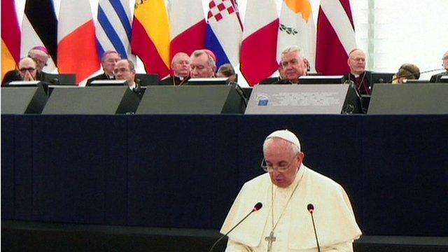 Pope delivers speech in Strasbourg