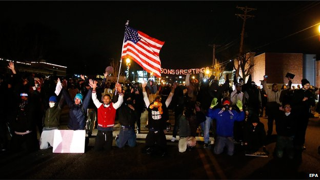 Protesters in Ferguson