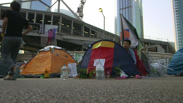 Protesters and tents at a camp in Hong Kong