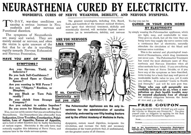 Neurasthenia Cured by Electricity advert