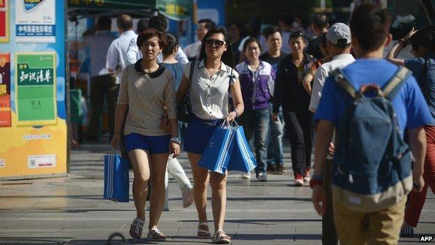 Shoppers on a street in Beijing