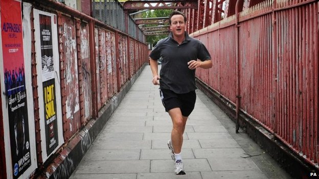 Conservative Party leader David Cameron jogs near his home in west London