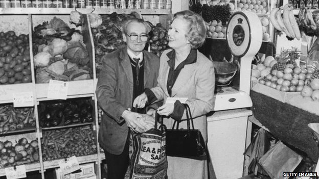 Margaret Thatcher in a greengrocers shop in 1979