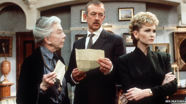 Wendy Hiller, Roy Marsden and Fiona Fullerton in A Taste for Death, 1988