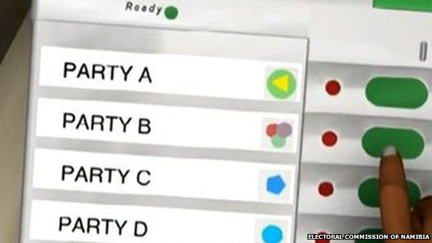 Screengrab of video introducing electronic voting machines to be used in Namibian elections