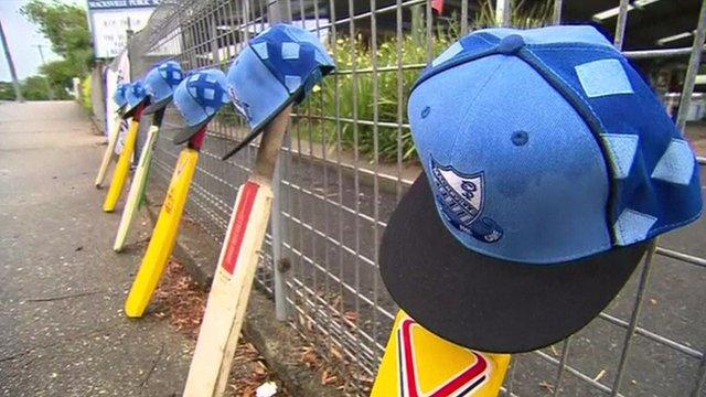 Cricket bats left out as a tribute