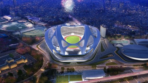 National Stadium, which will become the main venue for the 2020 Summer Olympics in Tokyo, Japan