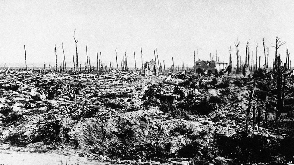A World War One battlefield with dead trees