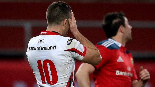 Ian Humphreys reacts after his last-gasp missed conversion in Ulster's 21-20 defeat by Munster
