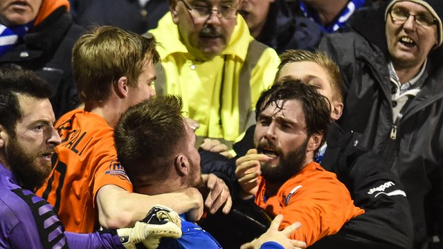 Players got involved in scuffles at Stangmore Park