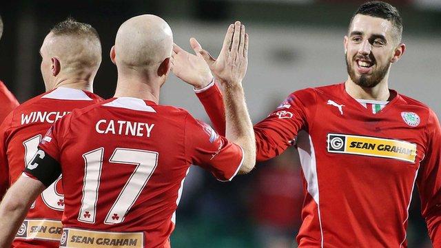 Joe Gormley celebrates his hat-trick against Ballymena