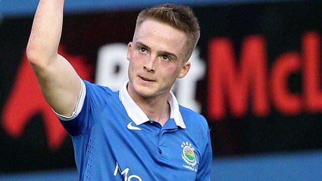 Linfield's Aaron Burns celebrates his goal against Coleraine